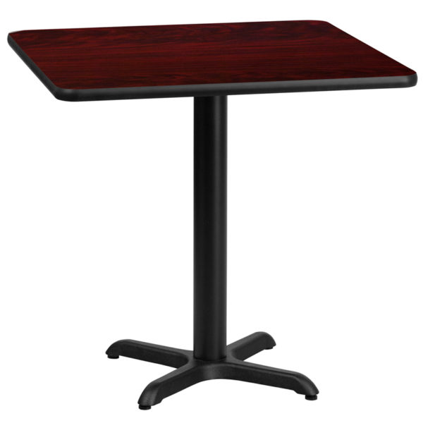 Wholesale 30'' Square Mahogany Laminate Table Top with 22'' x 22'' Table Height Base