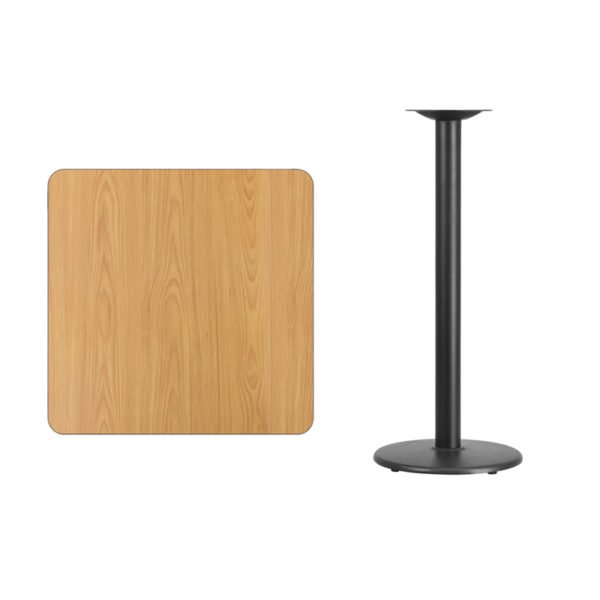 Lowest Price 30'' Square Natural Laminate Table Top with 18'' Round Bar Height Table Base