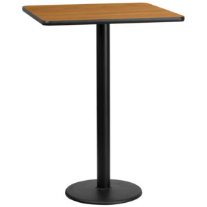 Wholesale 30'' Square Natural Laminate Table Top with 18'' Round Bar Height Table Base