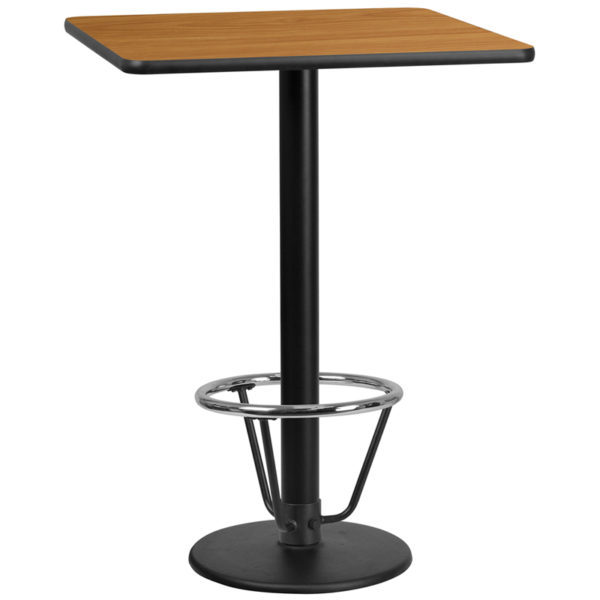 Wholesale 30'' Square Natural Laminate Table Top with 18'' Round Bar Height Table Base and Foot Ring