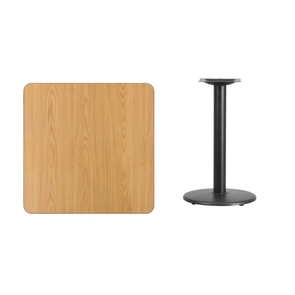 Lowest Price 30'' Square Natural Laminate Table Top with 18'' Round Table Height Base