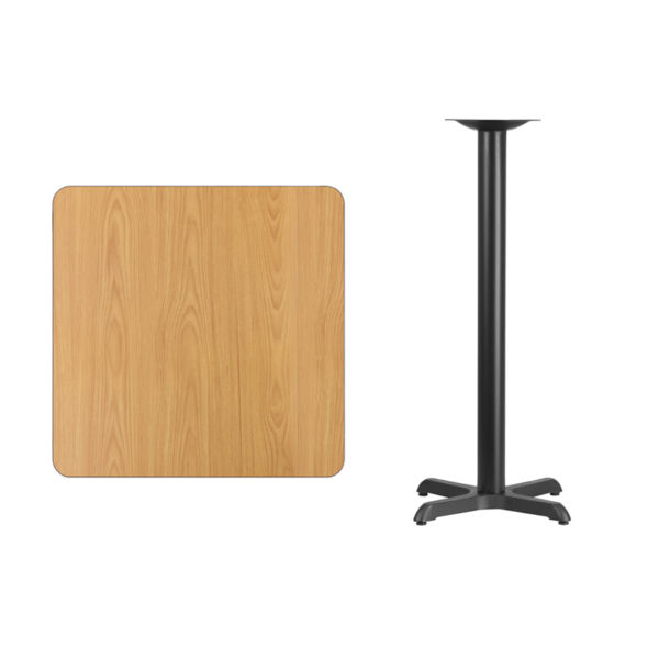 Lowest Price 30'' Square Natural Laminate Table Top with 22'' x 22'' Bar Height Table Base