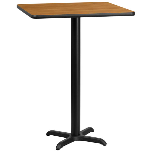Wholesale 30'' Square Natural Laminate Table Top with 22'' x 22'' Bar Height Table Base