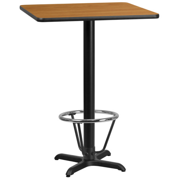 Wholesale 30'' Square Natural Laminate Table Top with 22'' x 22'' Bar Height Table Base and Foot Ring