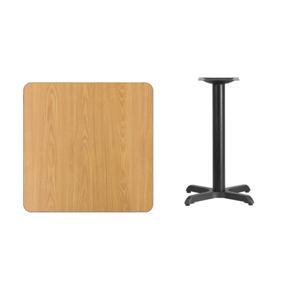 Lowest Price 30'' Square Natural Laminate Table Top with 22'' x 22'' Table Height Base