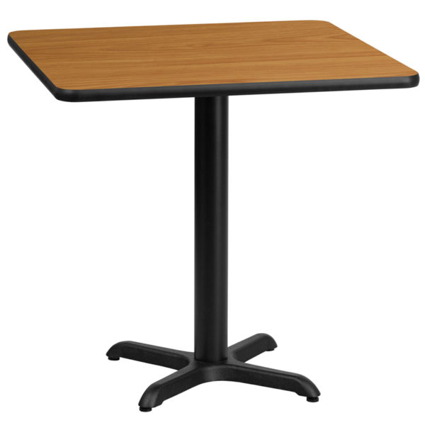 Wholesale 30'' Square Natural Laminate Table Top with 22'' x 22'' Table Height Base