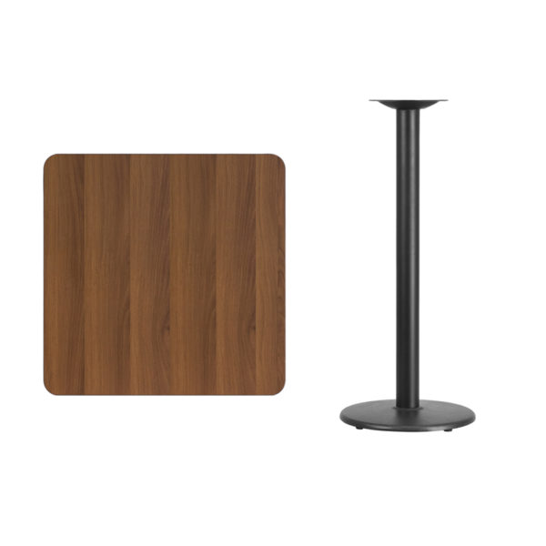 Lowest Price 30'' Square Walnut Laminate Table Top with 18'' Round Bar Height Table Base