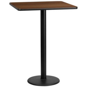 Wholesale 30'' Square Walnut Laminate Table Top with 18'' Round Bar Height Table Base