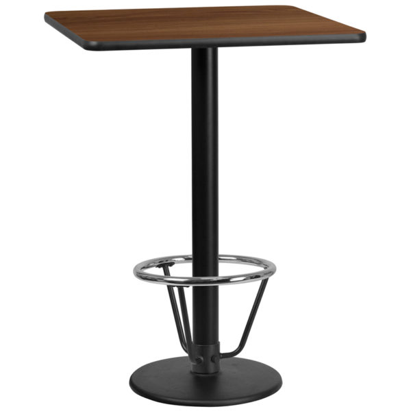 Wholesale 30'' Square Walnut Laminate Table Top with 18'' Round Bar Height Table Base and Foot Ring