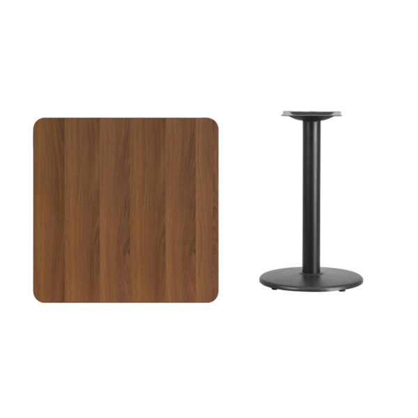 Lowest Price 30'' Square Walnut Laminate Table Top with 18'' Round Table Height Base