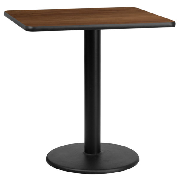 Wholesale 30'' Square Walnut Laminate Table Top with 18'' Round Table Height Base