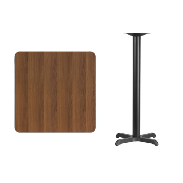Lowest Price 30'' Square Walnut Laminate Table Top with 22'' x 22'' Bar Height Table Base