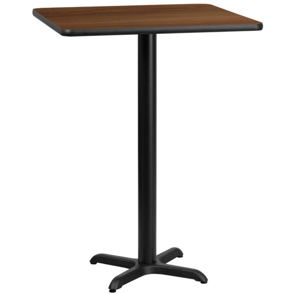 Wholesale 30'' Square Walnut Laminate Table Top with 22'' x 22'' Bar Height Table Base