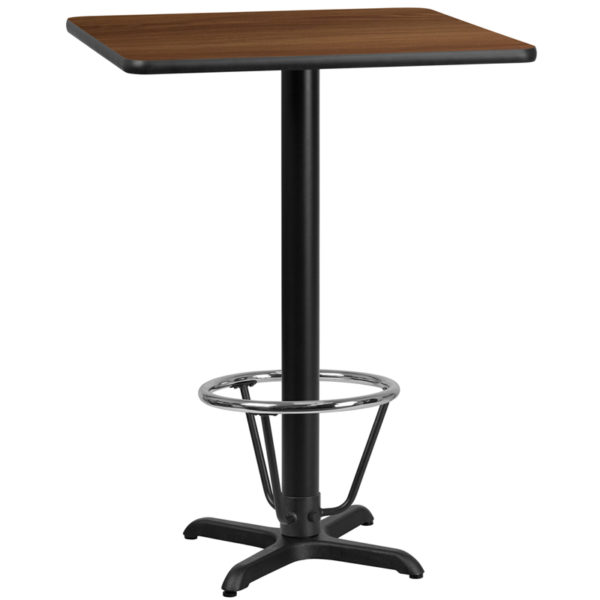 Wholesale 30'' Square Walnut Laminate Table Top with 22'' x 22'' Bar Height Table Base and Foot Ring