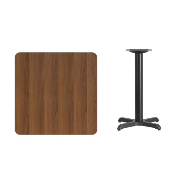 Lowest Price 30'' Square Walnut Laminate Table Top with 22'' x 22'' Table Height Base