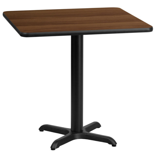Wholesale 30'' Square Walnut Laminate Table Top with 22'' x 22'' Table Height Base