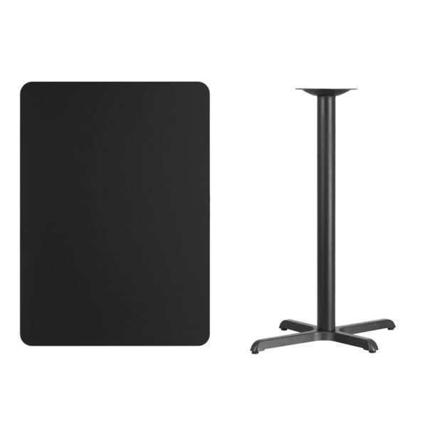 Lowest Price 30'' x 42'' Rectangular Black Laminate Table Top with 22'' x 30'' Bar Height Table Base