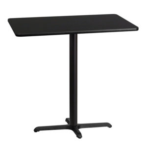 Wholesale 30'' x 42'' Rectangular Black Laminate Table Top with 22'' x 30'' Bar Height Table Base