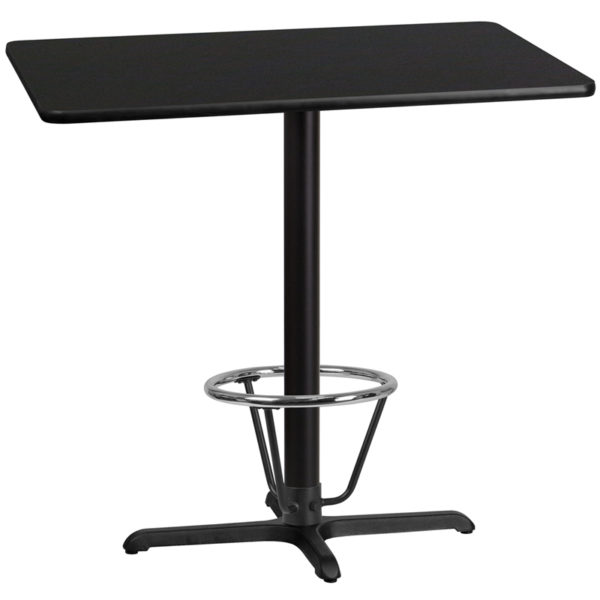 Wholesale 30'' x 42'' Rectangular Black Laminate Table Top with 22'' x 30'' Bar Height Table Base and Foot Ring
