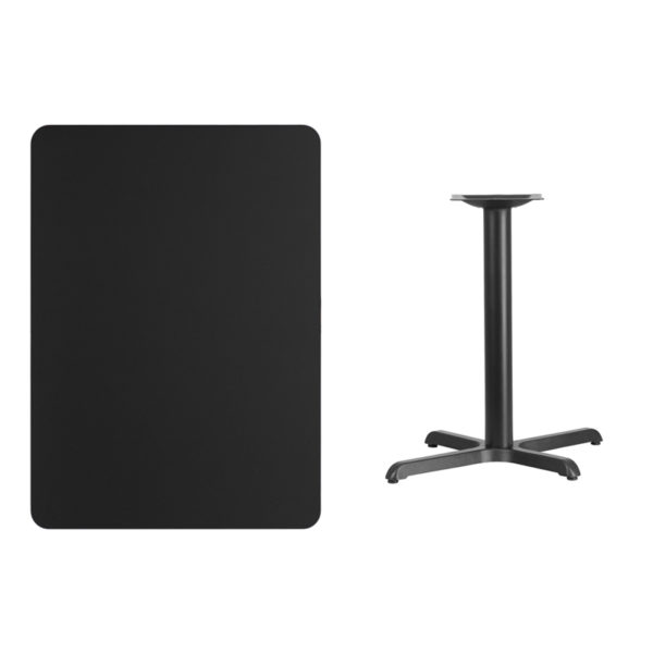 Lowest Price 30'' x 42'' Rectangular Black Laminate Table Top with 22'' x 30'' Table Height Base