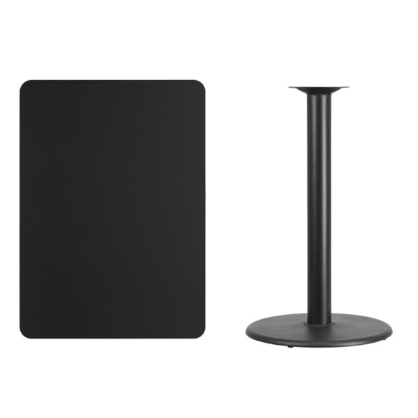 Lowest Price 30'' x 42'' Rectangular Black Laminate Table Top with 24'' Round Bar Height Table Base