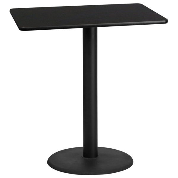 Wholesale 30'' x 42'' Rectangular Black Laminate Table Top with 24'' Round Bar Height Table Base