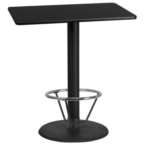 Wholesale 30'' x 42'' Rectangular Black Laminate Table Top with 24'' Round Bar Height Table Base and Foot Ring