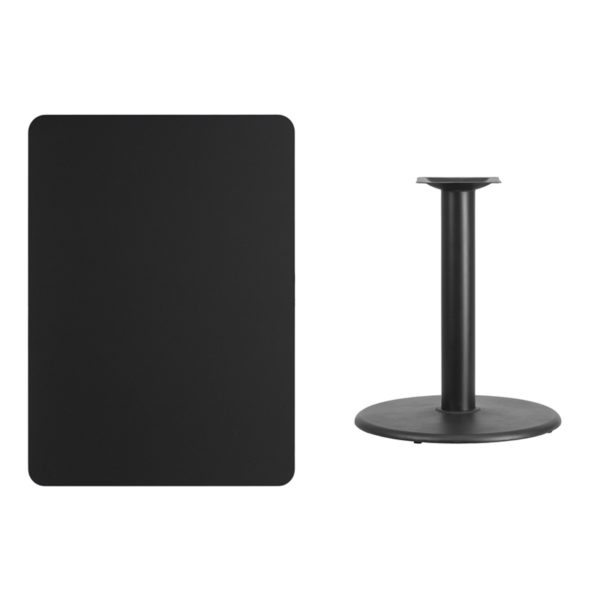 Lowest Price 30'' x 42'' Rectangular Black Laminate Table Top with 24'' Round Table Height Base