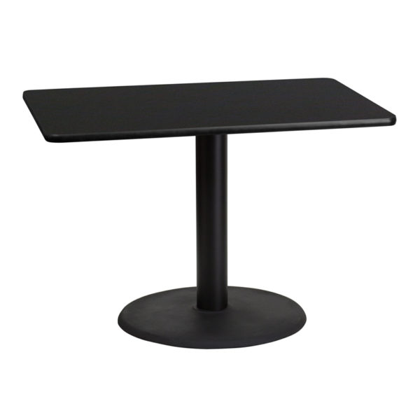 Wholesale 30'' x 42'' Rectangular Black Laminate Table Top with 24'' Round Table Height Base