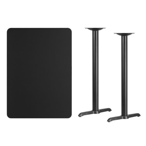 Lowest Price 30'' x 42'' Rectangular Black Laminate Table Top with 5'' x 22'' Bar Height Table Bases