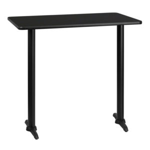 Wholesale 30'' x 42'' Rectangular Black Laminate Table Top with 5'' x 22'' Bar Height Table Bases