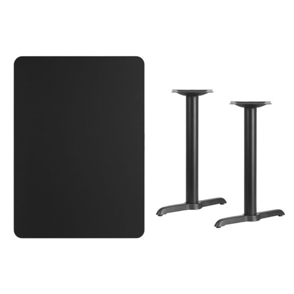 Lowest Price 30'' x 42'' Rectangular Black Laminate Table Top with 5'' x 22'' Table Height Bases