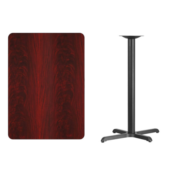 Lowest Price 30'' x 42'' Rectangular Mahogany Laminate Table Top with 22'' x 30'' Bar Height Table Base
