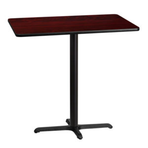 Wholesale 30'' x 42'' Rectangular Mahogany Laminate Table Top with 22'' x 30'' Bar Height Table Base