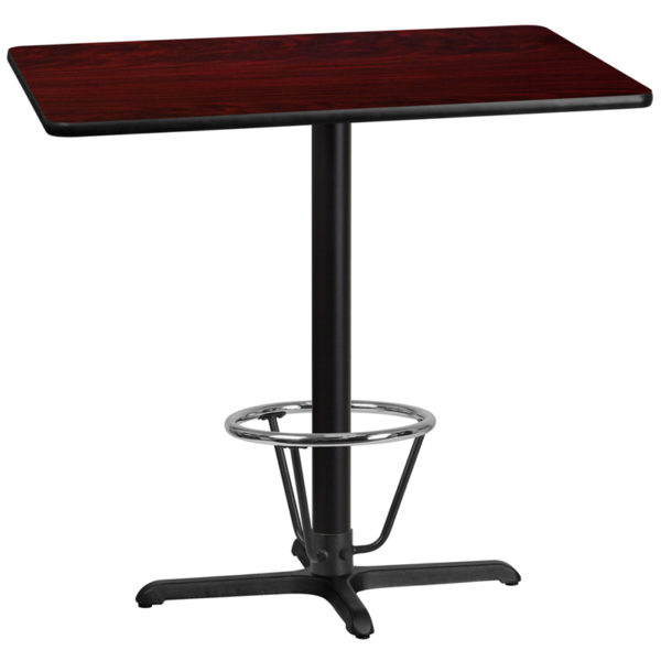 Wholesale 30'' x 42'' Rectangular Mahogany Laminate Table Top with 22'' x 30'' Bar Height Table Base and Foot Ring