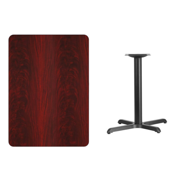 Lowest Price 30'' x 42'' Rectangular Mahogany Laminate Table Top with 22'' x 30'' Table Height Base
