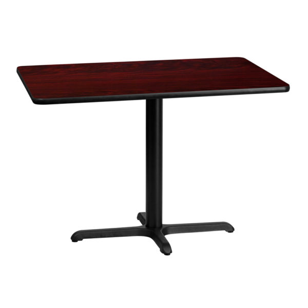 Wholesale 30'' x 42'' Rectangular Mahogany Laminate Table Top with 22'' x 30'' Table Height Base