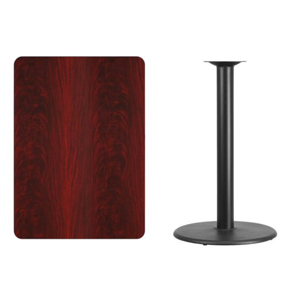 Lowest Price 30'' x 42'' Rectangular Mahogany Laminate Table Top with 24'' Round Bar Height Table Base