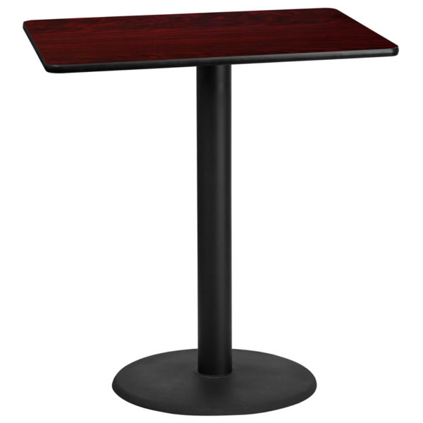 Wholesale 30'' x 42'' Rectangular Mahogany Laminate Table Top with 24'' Round Bar Height Table Base