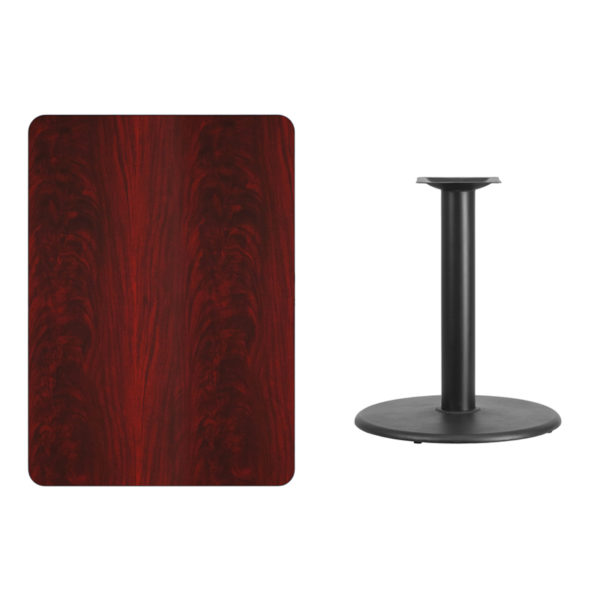 Lowest Price 30'' x 42'' Rectangular Mahogany Laminate Table Top with 24'' Round Table Height Base