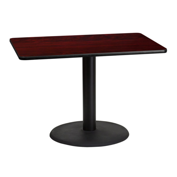 Wholesale 30'' x 42'' Rectangular Mahogany Laminate Table Top with 24'' Round Table Height Base
