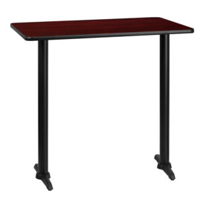 Wholesale 30'' x 42'' Rectangular Mahogany Laminate Table Top with 5'' x 22'' Bar Height Table Bases