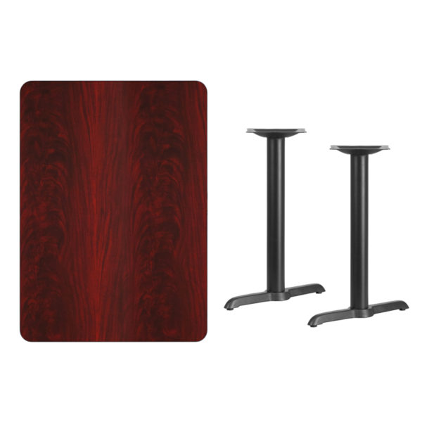 Lowest Price 30'' x 42'' Rectangular Mahogany Laminate Table Top with 5'' x 22'' Table Height Bases