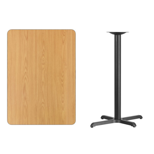Lowest Price 30'' x 42'' Rectangular Natural Laminate Table Top with 22'' x 30'' Bar Height Table Base