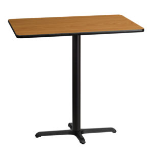 Wholesale 30'' x 42'' Rectangular Natural Laminate Table Top with 22'' x 30'' Bar Height Table Base