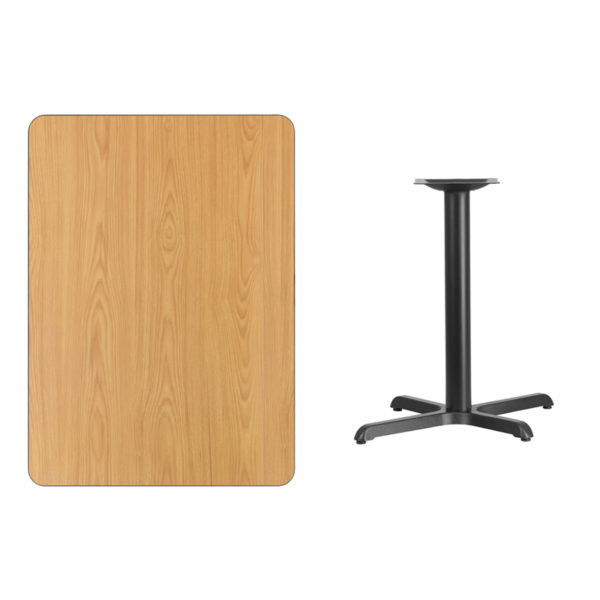 Lowest Price 30'' x 42'' Rectangular Natural Laminate Table Top with 22'' x 30'' Table Height Base