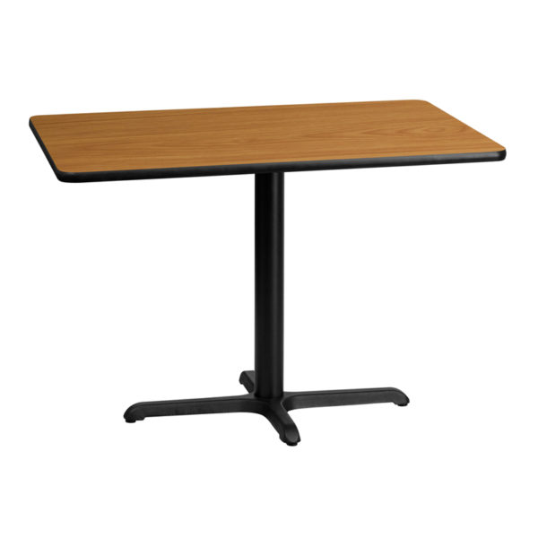 Wholesale 30'' x 42'' Rectangular Natural Laminate Table Top with 22'' x 30'' Table Height Base