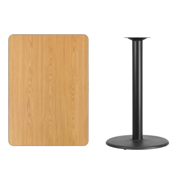 Lowest Price 30'' x 42'' Rectangular Natural Laminate Table Top with 24'' Round Bar Height Table Base