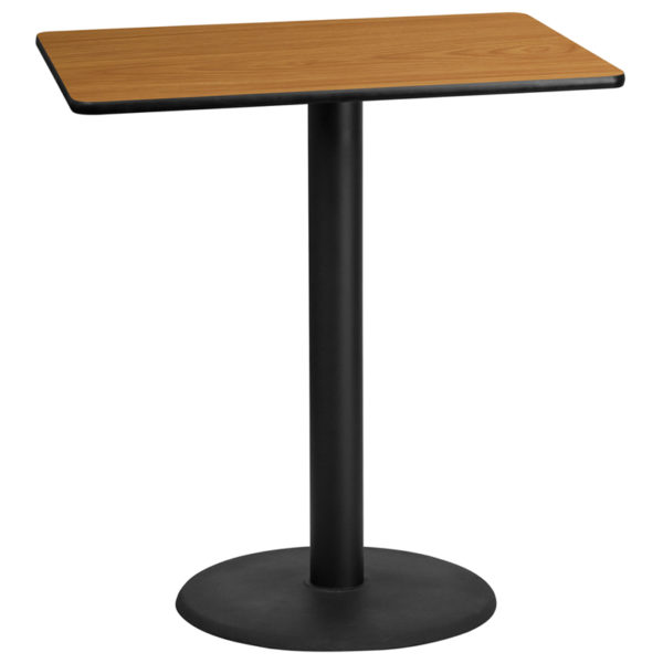 Wholesale 30'' x 42'' Rectangular Natural Laminate Table Top with 24'' Round Bar Height Table Base