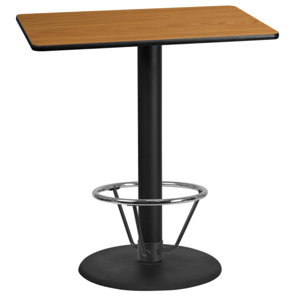 Wholesale 30'' x 42'' Rectangular Natural Laminate Table Top with 24'' Round Bar Height Table Base and Foot Ring